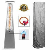 Comparatif des meilleurs parasols chauffants # 4 BU-KO Chauffage Gaz Terrasse | Extérieur: Jardin, Camping, Barbecue | Radiateur de Conception pyramidale au Propane - 13kw | Roues, régulateur et Tuyau | Cheminée en Acier Inoxydable GPL