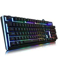 Comparatif des meilleurs claviers pour gamers # 5 YockTec Eclairage LED personnalisable avec clavier de jeu pour PC, MAC et Windows Gamer 105 Touches rétro-éclairé LED RGB